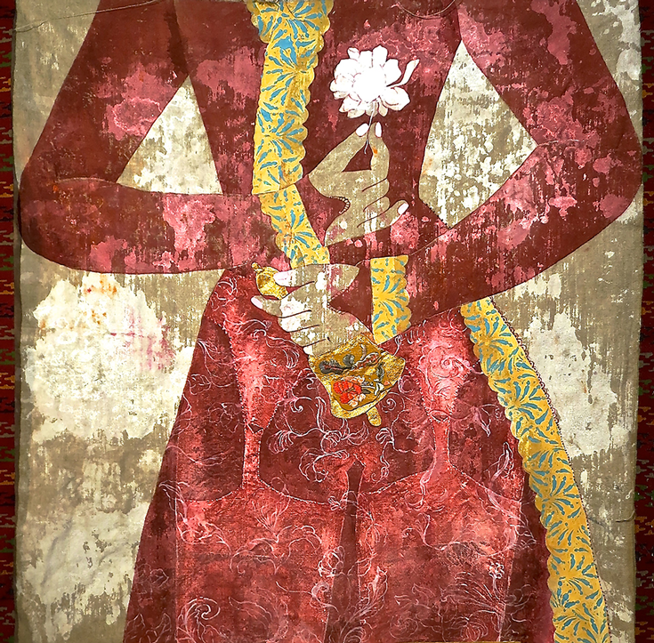 A painting of a red dress with yellow trim on the dress.