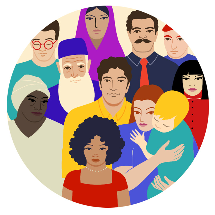 A cartoon drawing of a group of people of various ages and ethnicities.