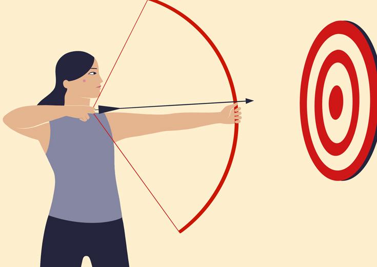 Illustration of woman doing archery