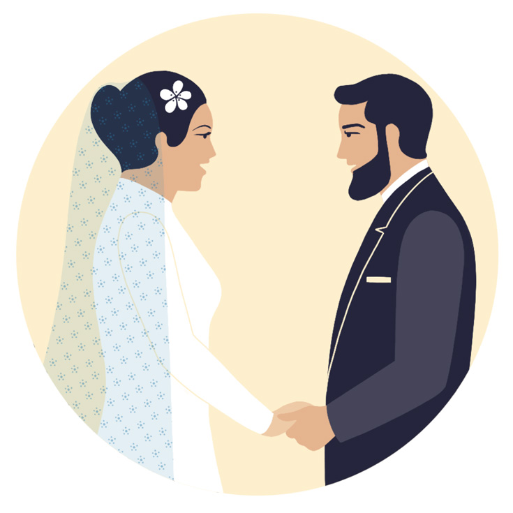 Cartoon of a couple getting married. They are holding hands and saying their vows.
