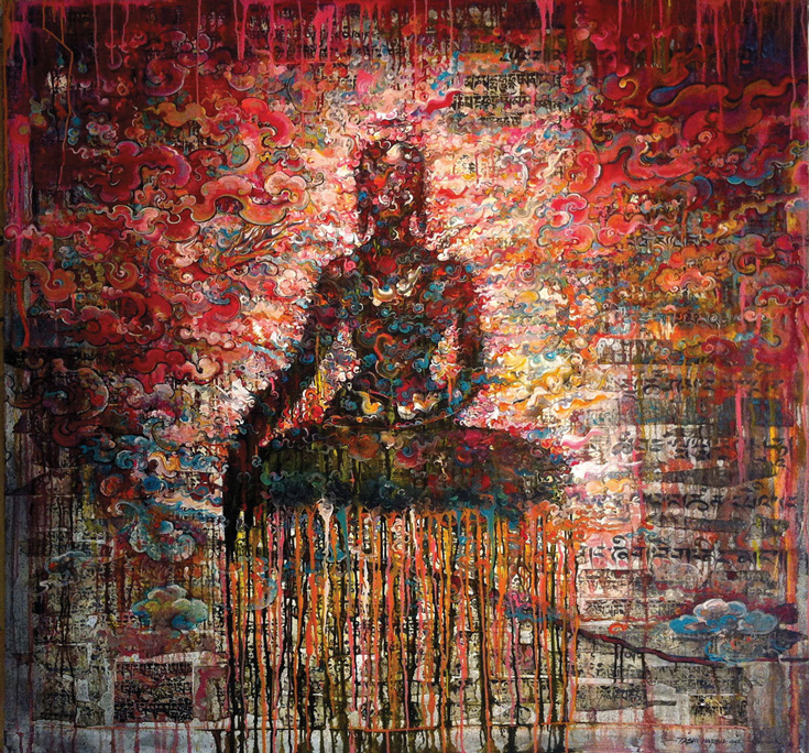 A painting of a person meditating with many colours in the background.