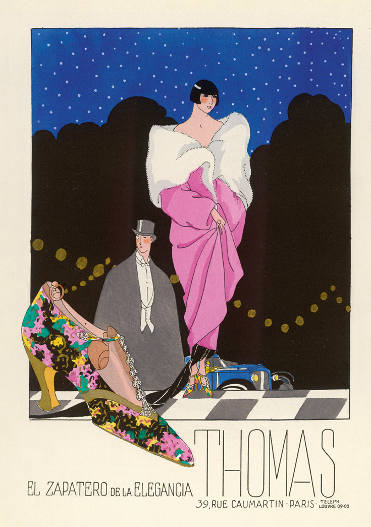 An old fashioned movie poster. A woman and man are in formal dress and there is a fancy shoe near the bottom.