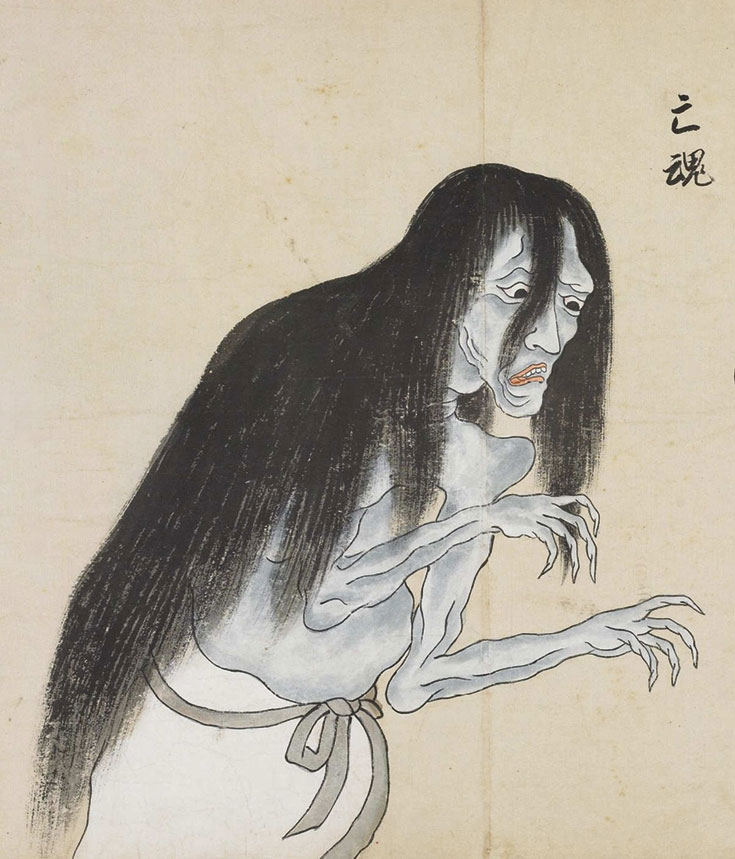 A drawing of a skeletal figure with long black hair.
