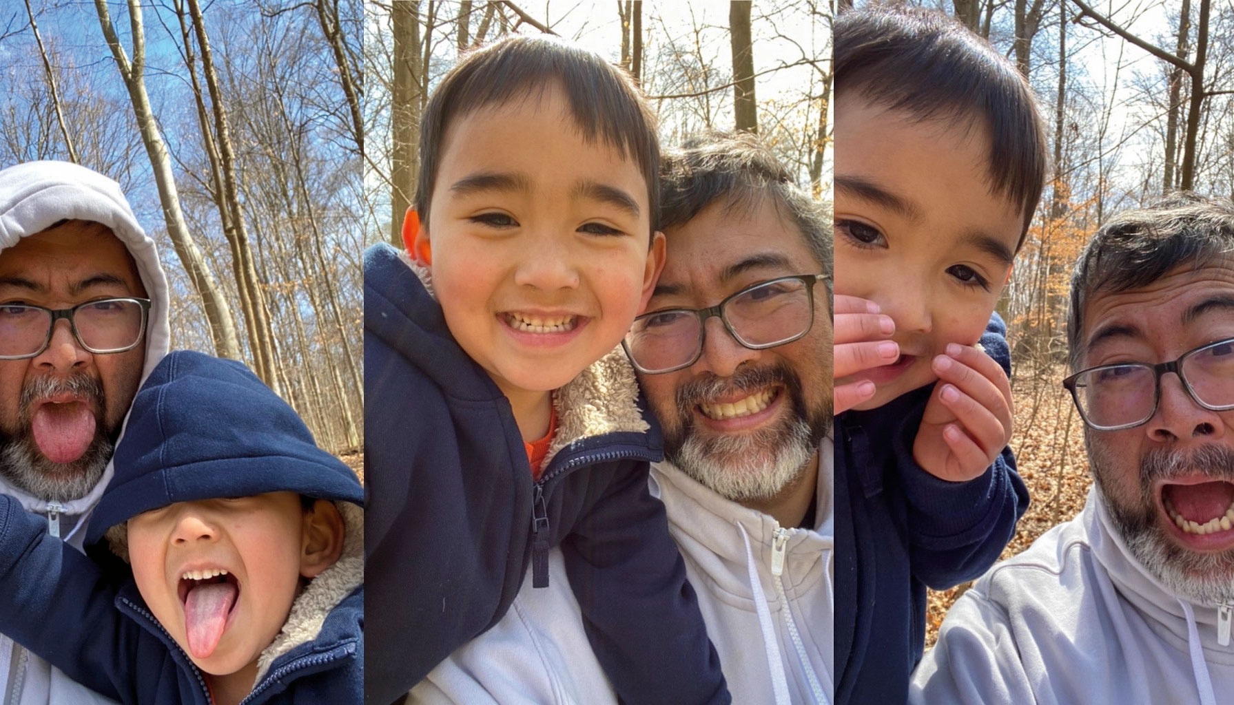 Three photos of a man and his son. They are both wearing hoodies and smiling in each photos.