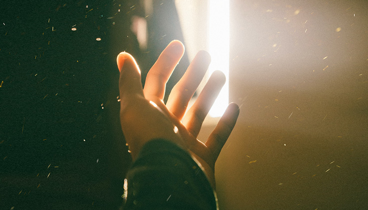 A hand being hit by sunlight.