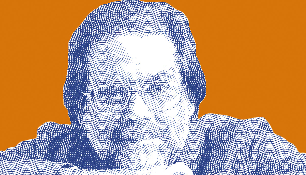 A photo of a man with glasses with a pop-art style filter on top of it. The background is orange.