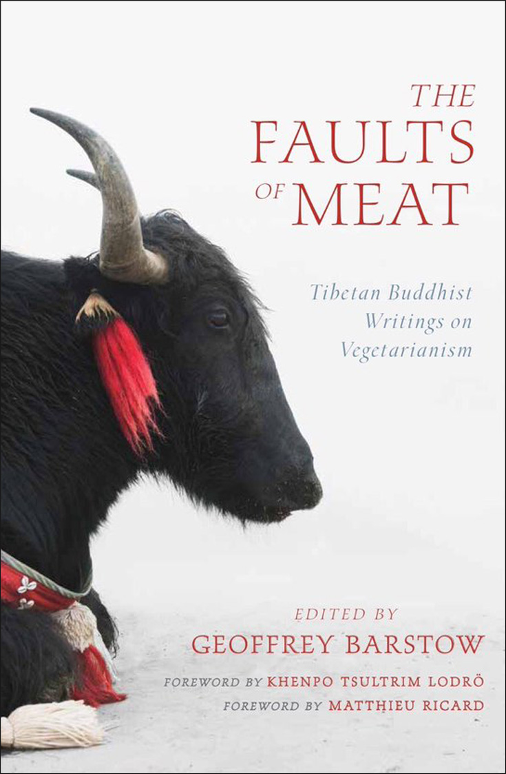 Book cover of The Faults of Meat. There is a cow with horns on the cover.