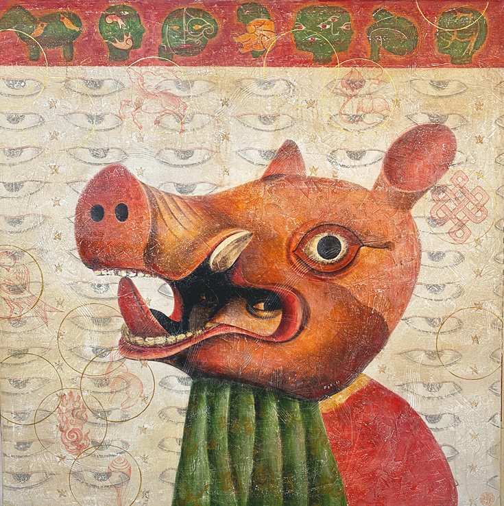 A drawing of a person with a pig head on it. The background is a wall of eyes.