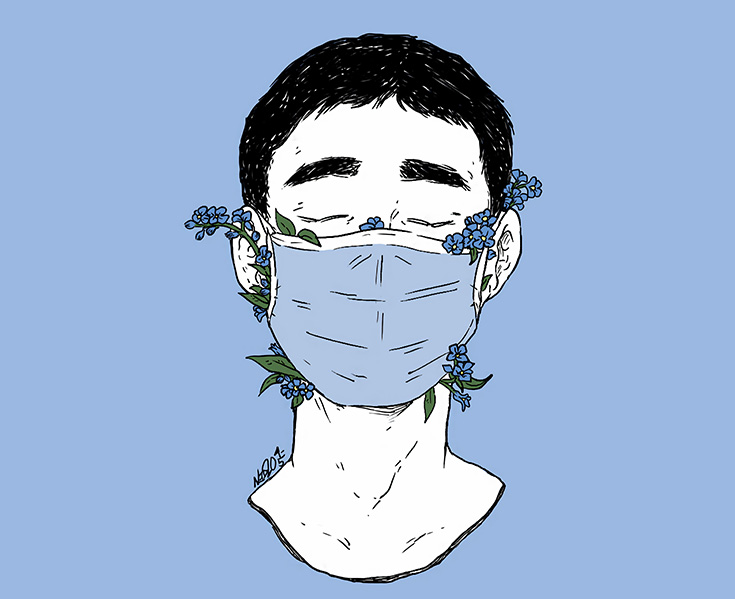 An illustration of a person with short hair wearing a blue surgical mask with flowers coming out of the mask.