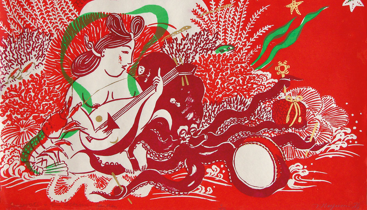 Silkscreen painting of Sarasvati playing music on string instrument, surrounded by sea creatures including lobster, octopus, and fish