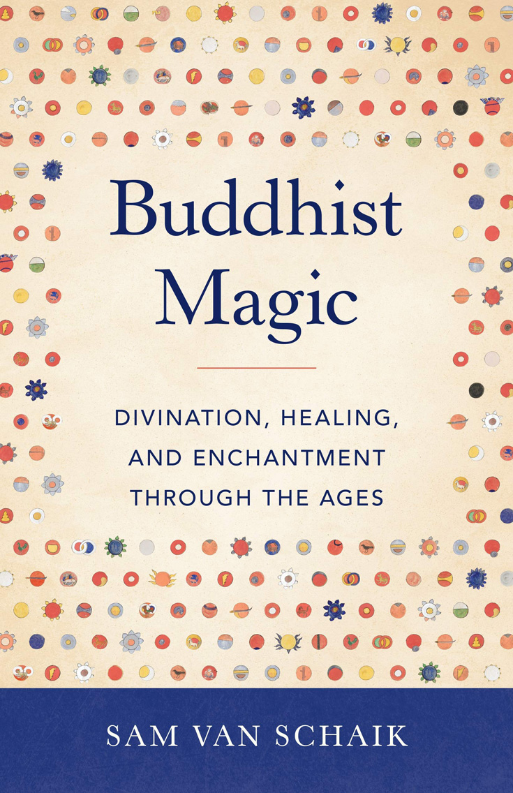 Book cover for Buddhist Magic. It has text and then icons surrounding the text.