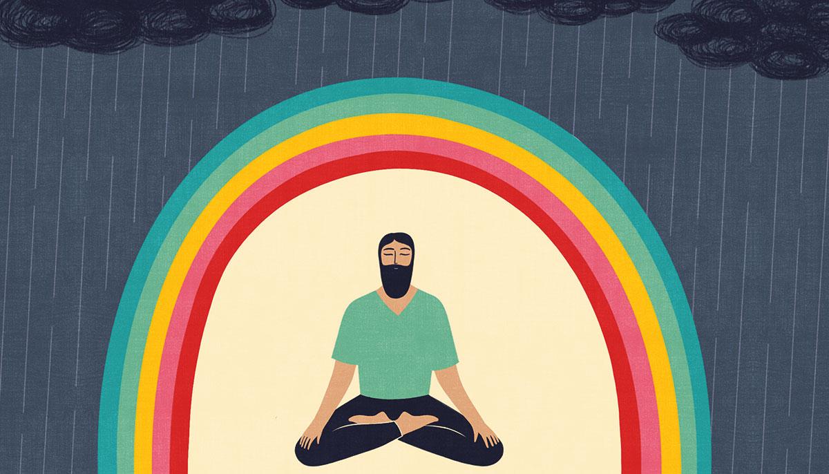 Cartoon Illustration of man meditating under rainbow.