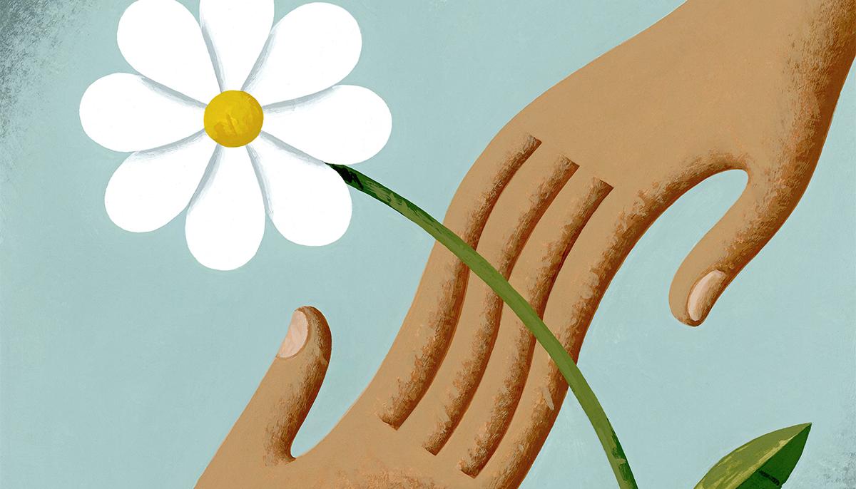 A cartoon hand holding a daisy.