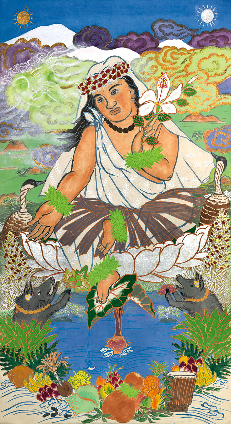 Painting of Poliahu sitting in lotus flower, reaching hand out towards animals sitting in pond