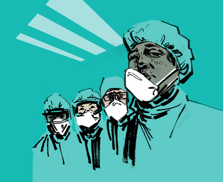 Illustration of first responders wearing PPE