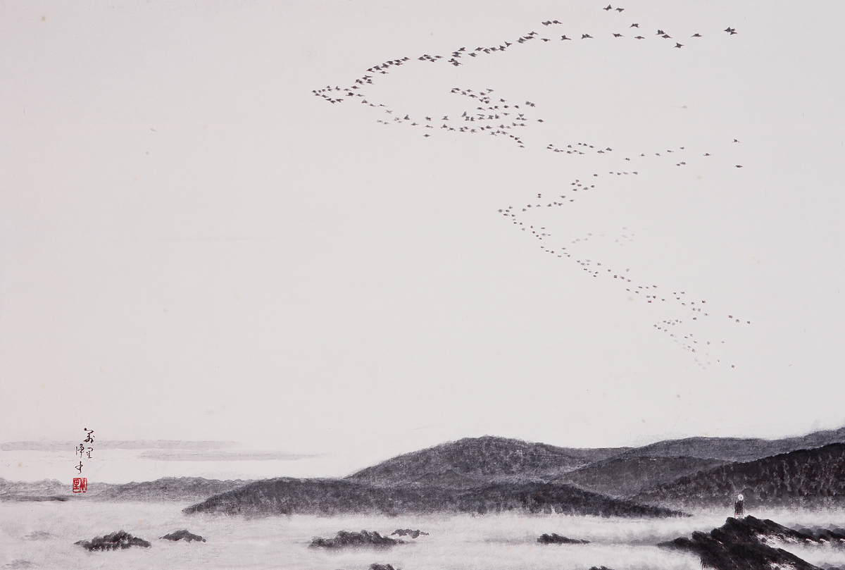 Photo of birds in the sky over cliffs.