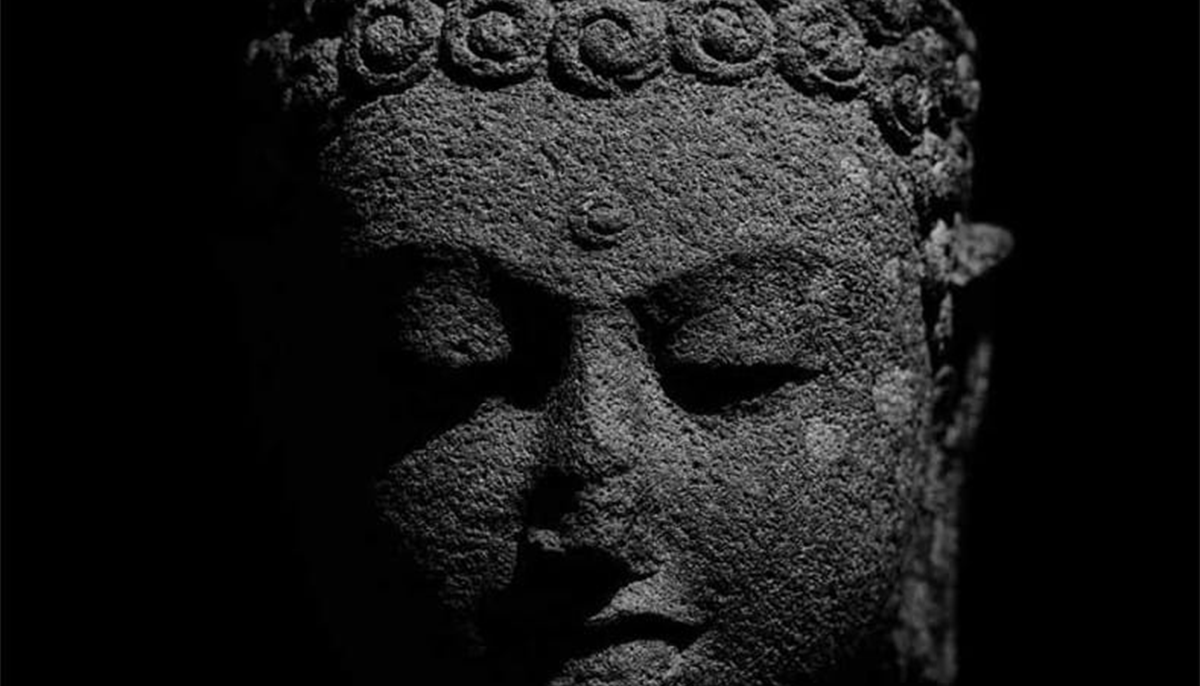 Face of a Buddha statue.