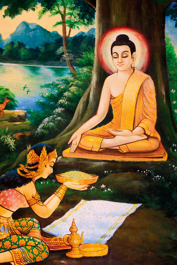 The Buddha meditating under a tree while Sujata offers him a bowl of milk rice
