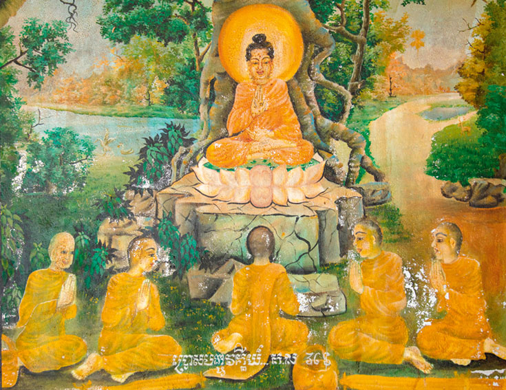 Mural of Buddha sitting in lotus flower on tree stump. Five disciples sit in front of him.
