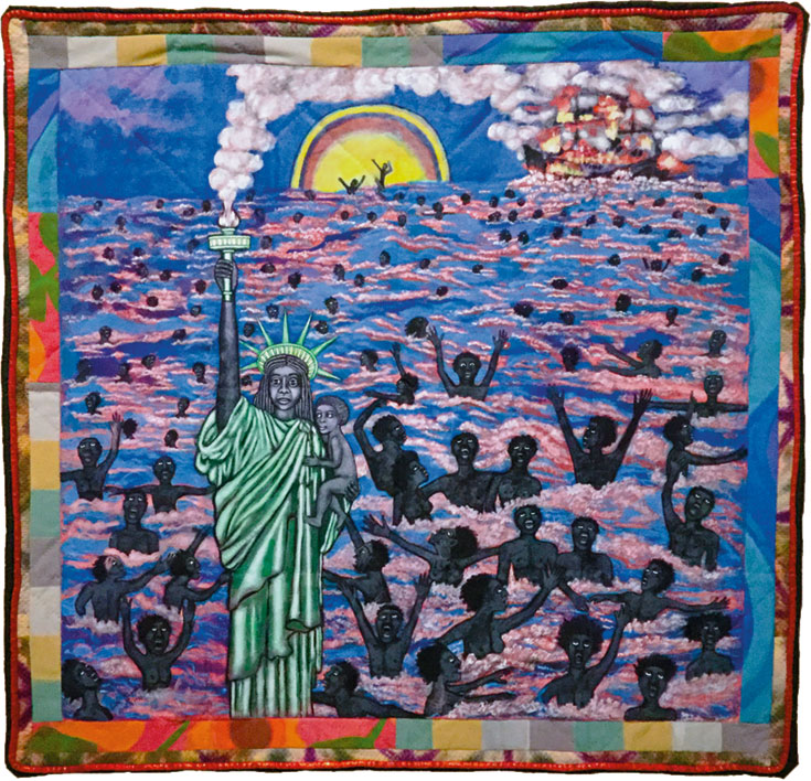 Quilted image of the Statue of Liberty with dreadlocks. She cradles a Black baby in one arm and holds the flaming torch with the other. Behind her dozens of slaves flail in the sea, drowning, while the ship that transported them burns in the background.