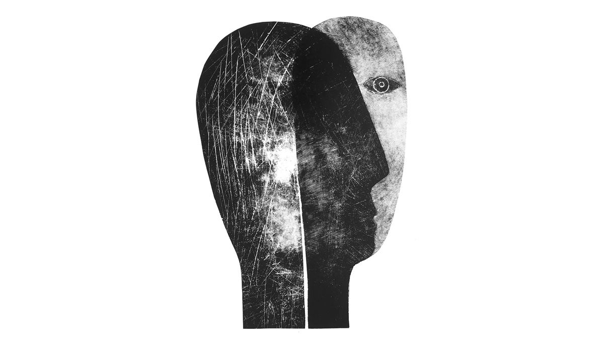 Two faces overlayed on each other. It is a drawing.