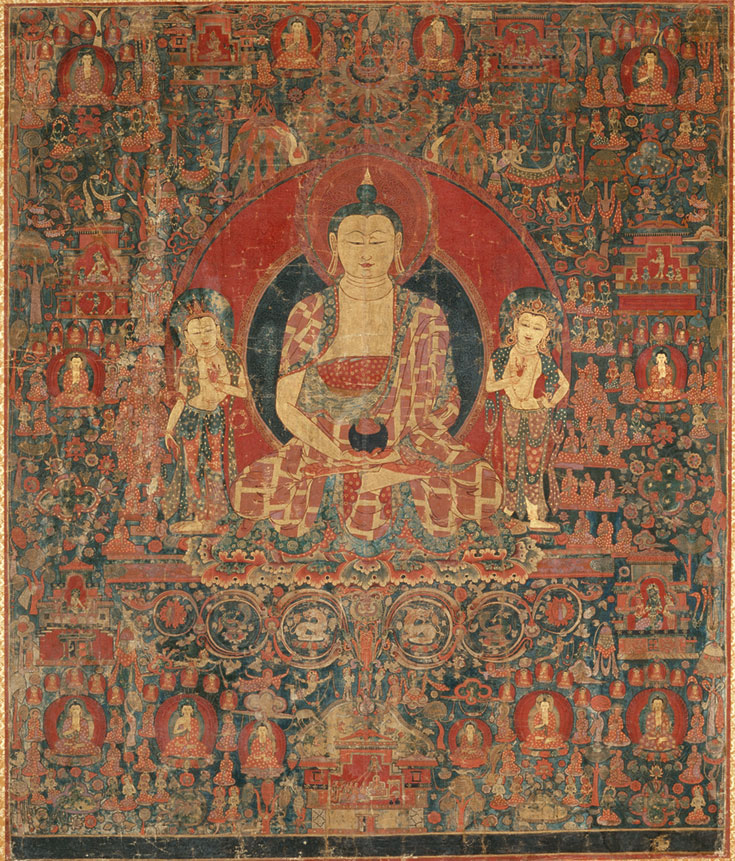 illustration of Buddha surrounded by many other enlightened beings