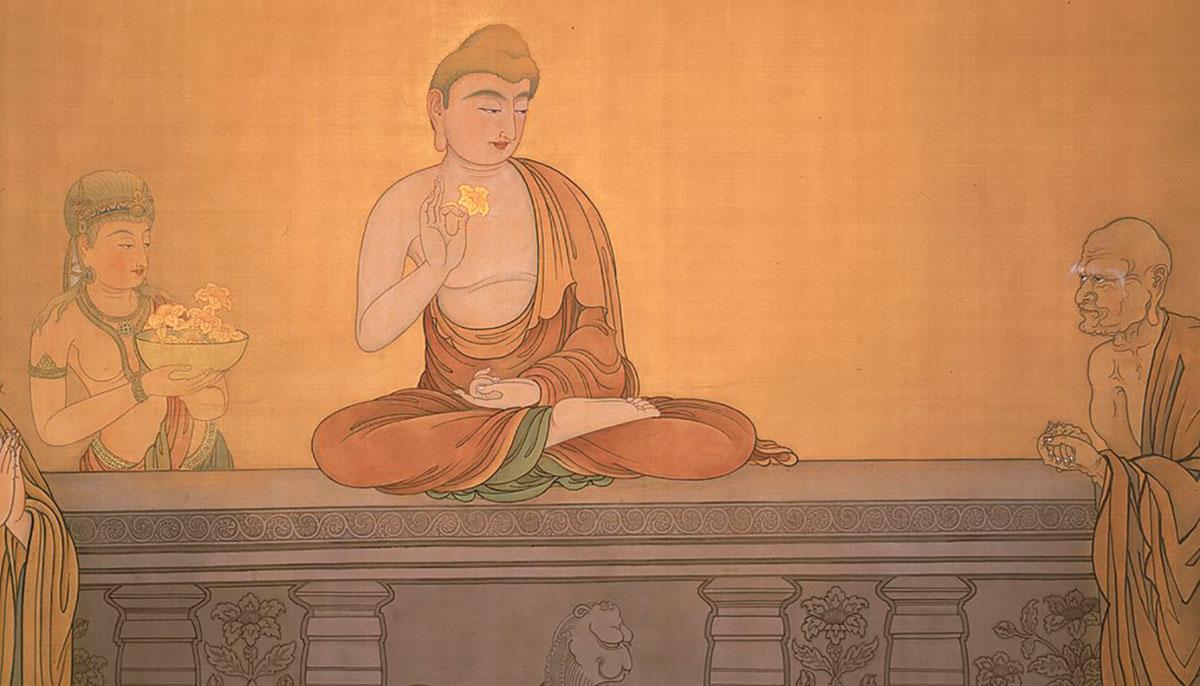 Illustration of Buddha holding up flower in Flower Sermon