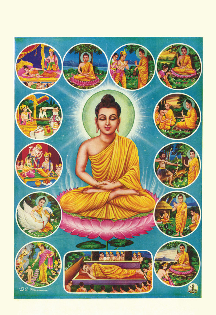 An Indian popular-art poster depicting key events in the Buddha's life.