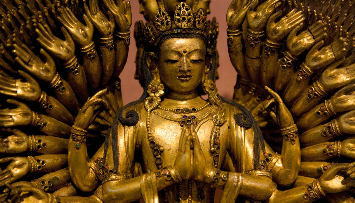 A gold statue.