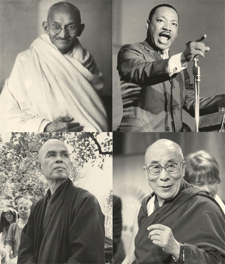 Four black and white photos of men.