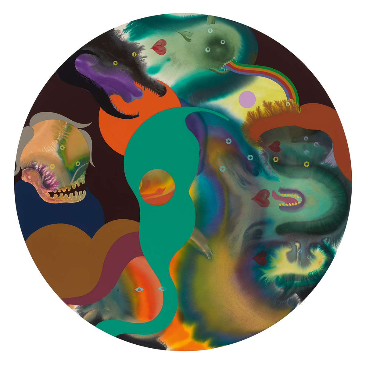 A painting of a bunch of colourful swirls, some with eyes that make it look like they are monsters.