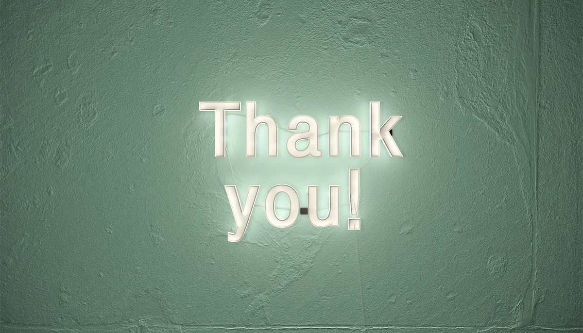 """""""Thank you!"""" in fluorescent lights"""