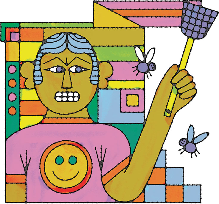 A cartoon drawing of an angry person swatting flies.
