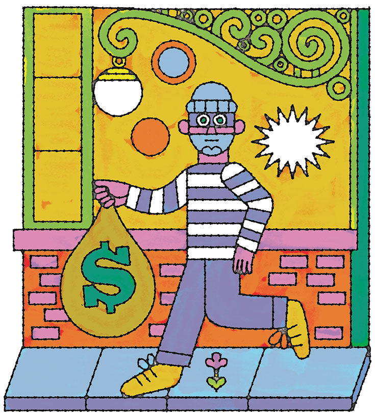 A cartoon drawing of a bank robber with a bag of money.