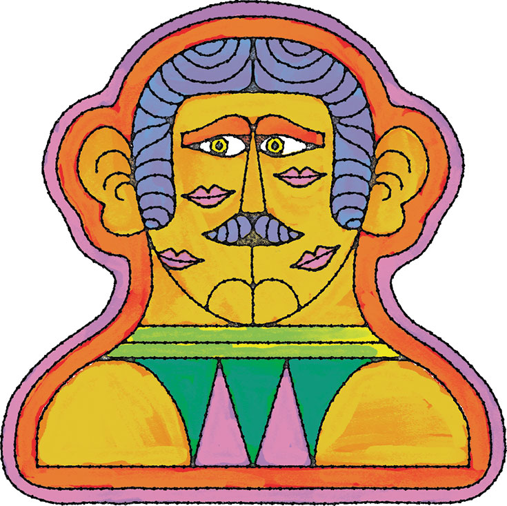 A cartoon drawing of a mirrored face.