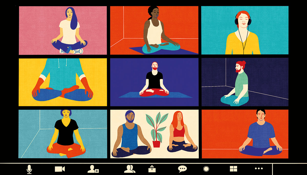 A cartoon of nine different zoom squares of people meditating.