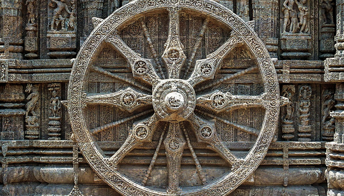 An old fashioned wheel.