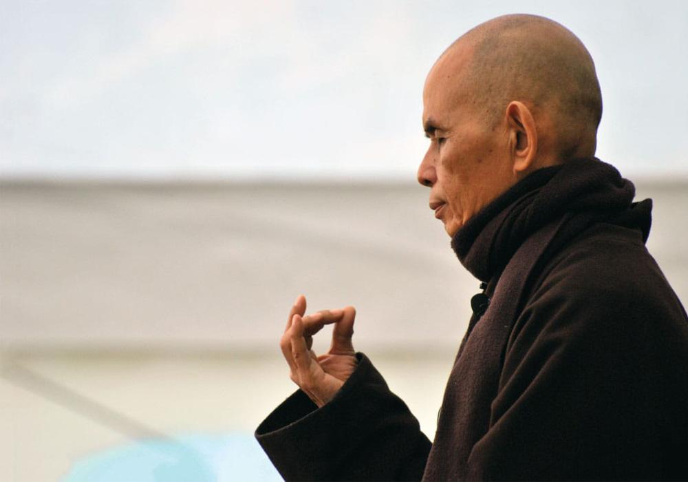 Thich Nhat Hahn meditating.