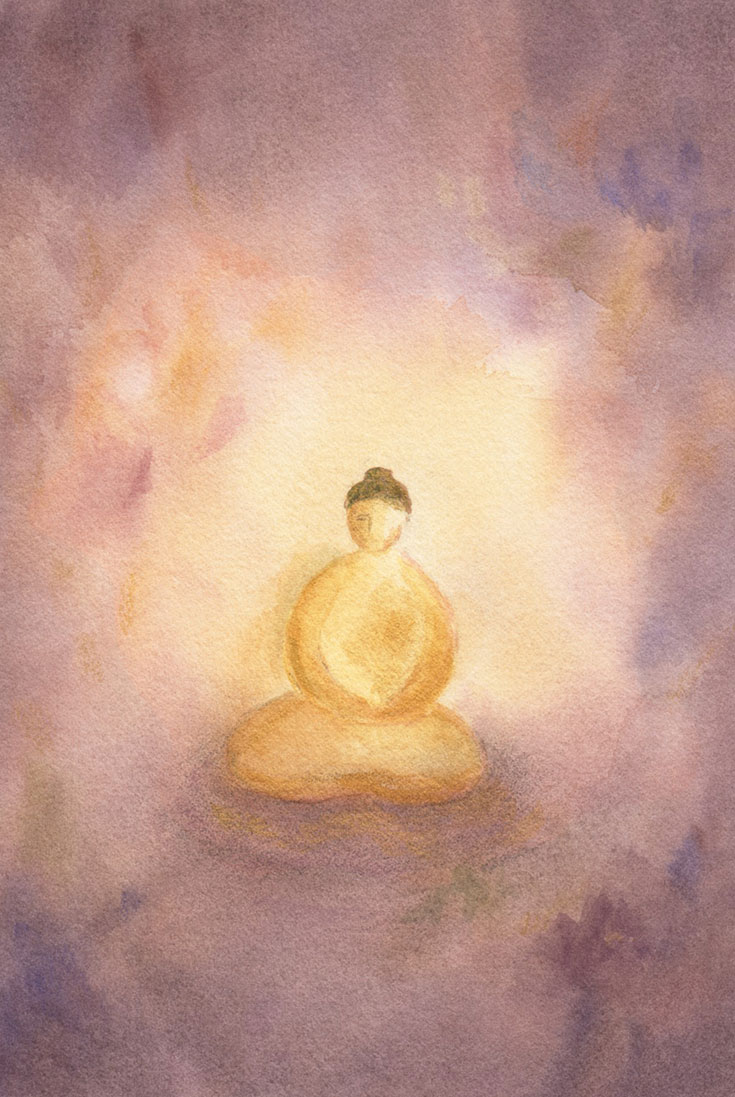 A painting of someone meditating.