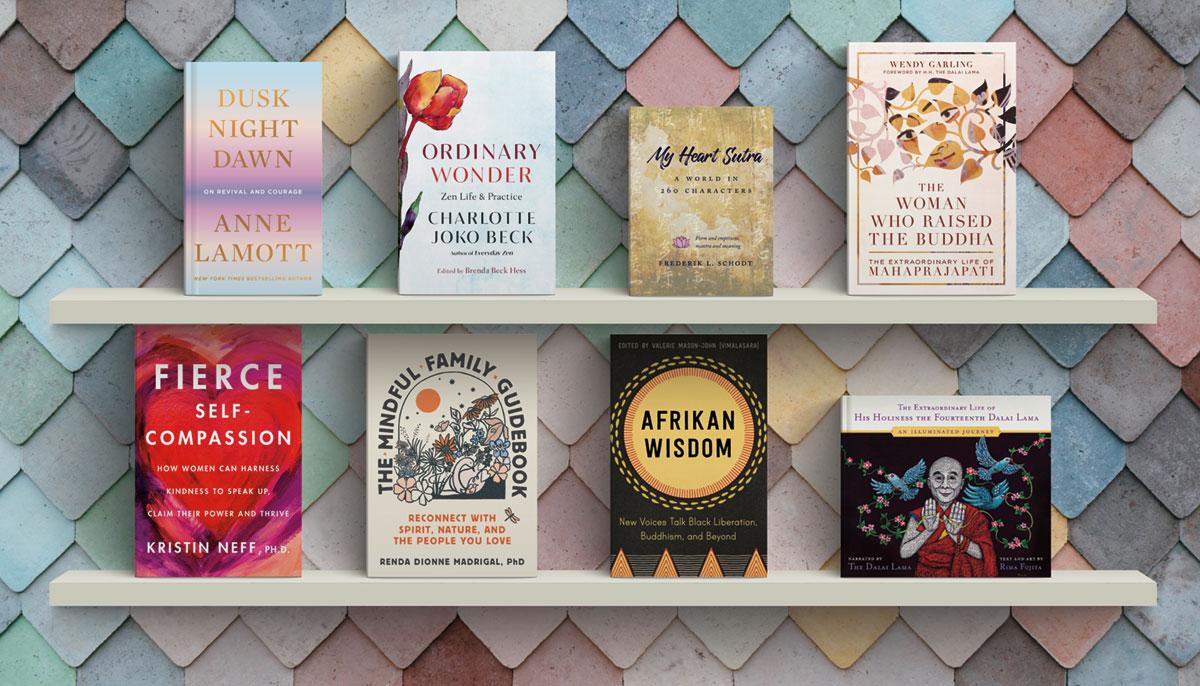 A bookshelf with eight books facing outwards.