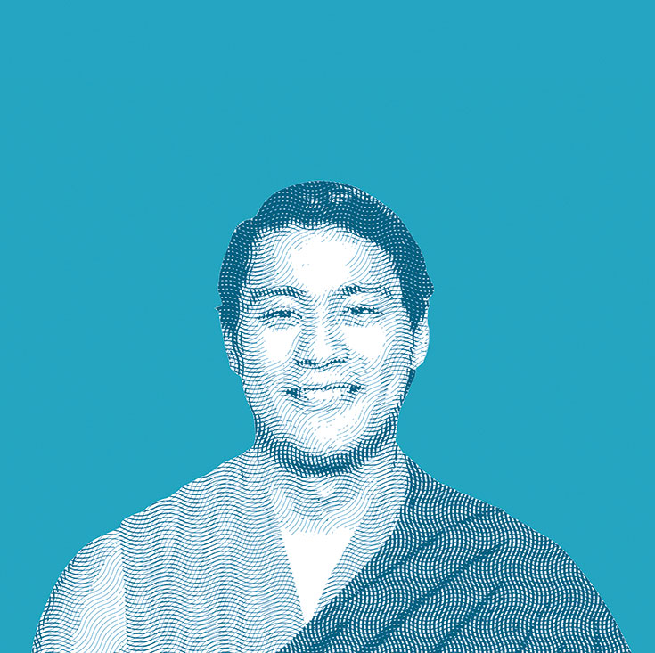 A picture of a man with short hair wearing a robe with a pop-art filter on it.