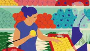 Illustration of a woman picking fruit in the grocery store.