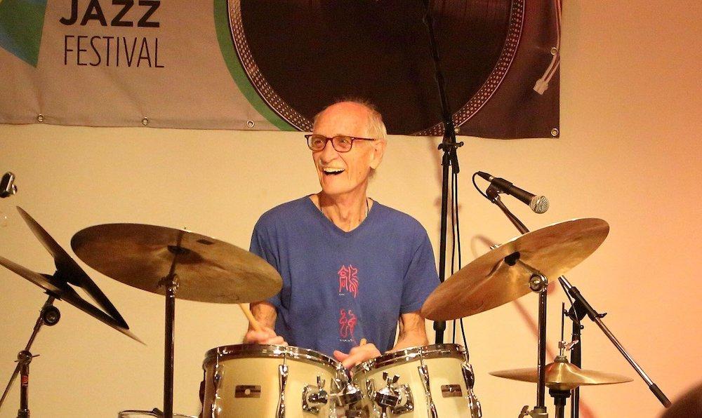 Jerry Granelli: joy at the drum kit. Photo via Halifax Music Festival.