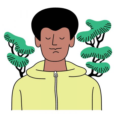 An illustrated man in a yellow zip-up sweater practices walking meditation between two trees.