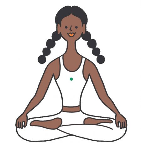 An illustration of a smiling woman sitting in meditation in lotus posture.