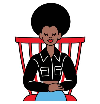 Am illustrated woman sits in a red chair with her eyes closed. She is wearing a black button-up shirt and blue jeans.